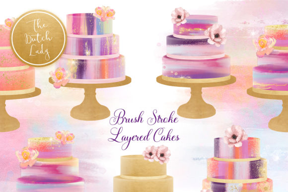 Print on Demand: Brush Stroke Marmor Layered Cake Clipart Set Graphic Illustrations By daphnepopuliers