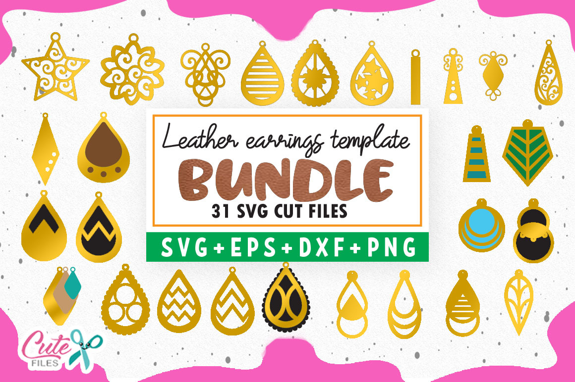 Download Free Bundle Earrings Template Graphic By Cute Files Creative Fabrica for Cricut Explore, Silhouette and other cutting machines.