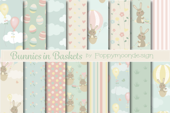 Print on Demand: Bunnies in Baskets Paper Graphic Patterns By poppymoondesign