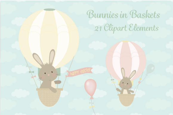 Print on Demand: Bunnies in Baskets Gráfico Ilustraciones Por poppymoondesign