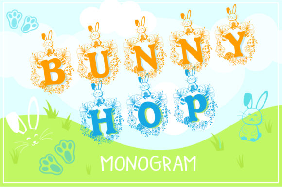 Print on Demand: Bunny Hop Monogram Display Font By Anastasia Feya
