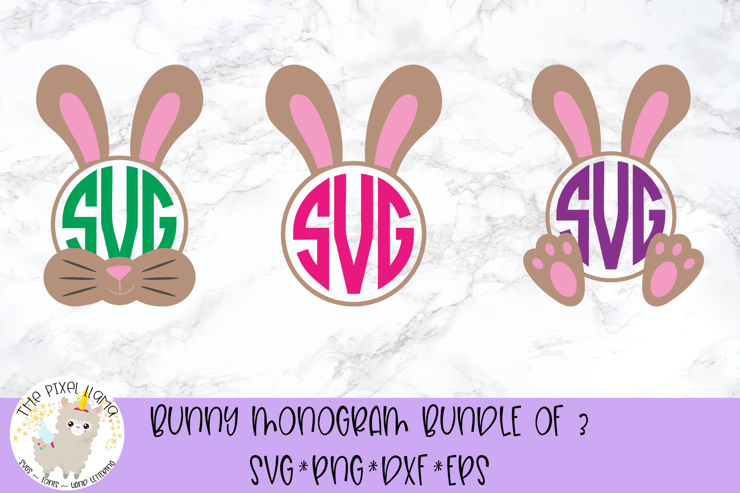 Download Free Bunny Monogram Graphic By The Pixel Llama Creative Fabrica for Cricut Explore, Silhouette and other cutting machines.