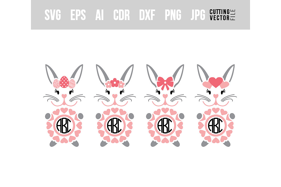 Download Free Bunny Monograms Graphic By Danieladoychinovashop Creative Fabrica for Cricut Explore, Silhouette and other cutting machines.
