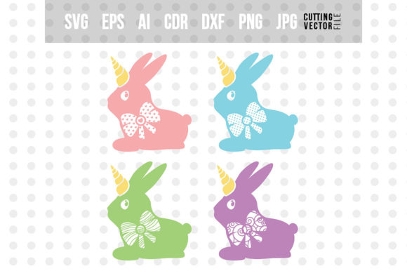 Bunny Unicorn with Bow Graphic Crafts By danieladoychinovashop