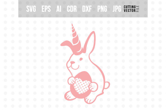 Bunny Unicorn with Egg Graphic Crafts By danieladoychinovashop - Image 1