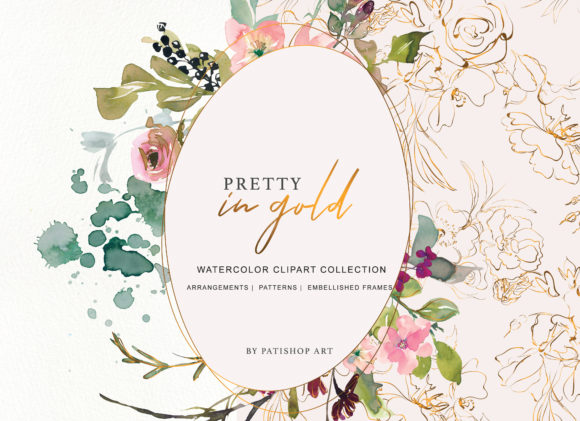 Burgundy Blush and Gold Floral Bouquet Clipart Graphic Illustrations By Patishop Art - Image 2