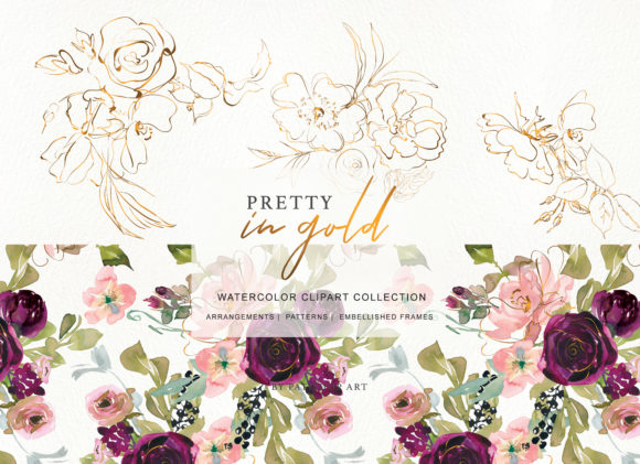 Burgundy Blush and Gold Floral Bouquet Clipart Graphic Illustrations By Patishop Art - Image 4