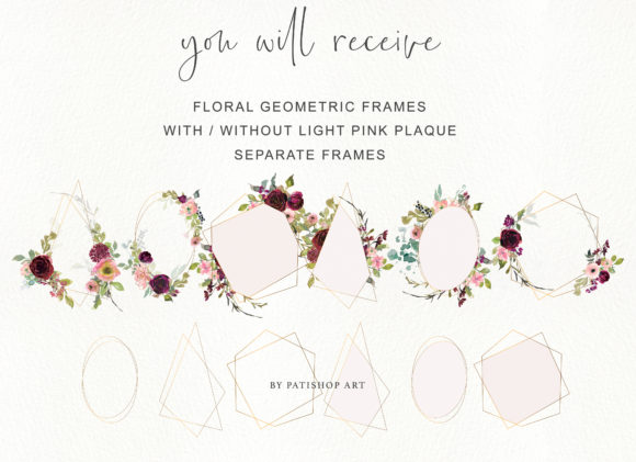 Burgundy Blush and Gold Floral Bouquet Clipart Graphic Illustrations By Patishop Art - Image 5