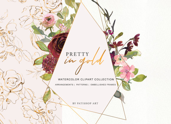 Burgundy Blush and Gold Floral Bouquet Clipart Graphic Illustrations By Patishop Art