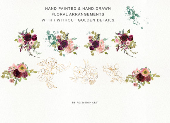 Burgundy Blush and Gold Floral Bouquet Clipart Graphic Illustrations By Patishop Art - Image 7
