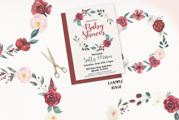 Burgundy Floral Wreath 8 Claret Cream Clipart Graphic Illustrations By Bloomella
