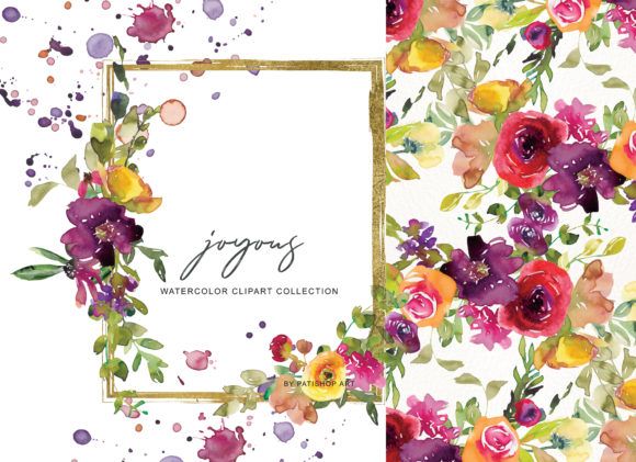 Burgundy and Yellow Floral Bouquet Clipart Graphic Illustrations By Patishop Art