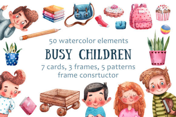 Download Free Busy Children Watercolor Clip Art Set Graphic By Mashamashastu for Cricut Explore, Silhouette and other cutting machines.