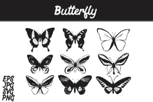 Print on Demand: Butterfly Silhouette Set Vector Image Bundle Graphic Crafts By Arief Sapta Adjie