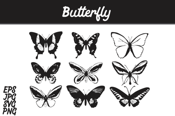 Print on Demand: Butterfly Silhouette Set SVG Vector Image Bundle Graphic Crafts By Arief Sapta Adjie