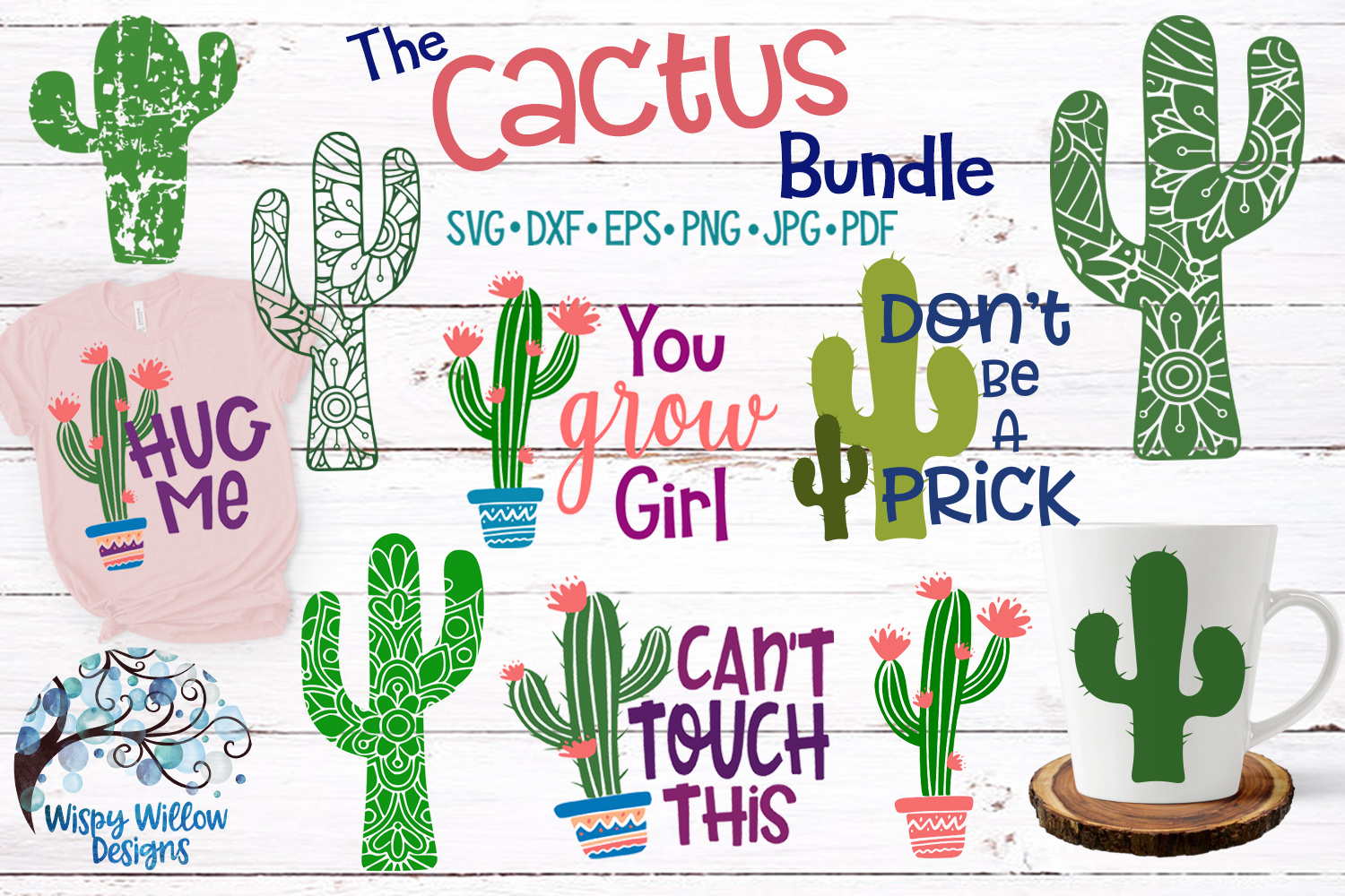 Download Free Cactus Bundle Graphic By Wispywillowdesigns Creative Fabrica for Cricut Explore, Silhouette and other cutting machines.