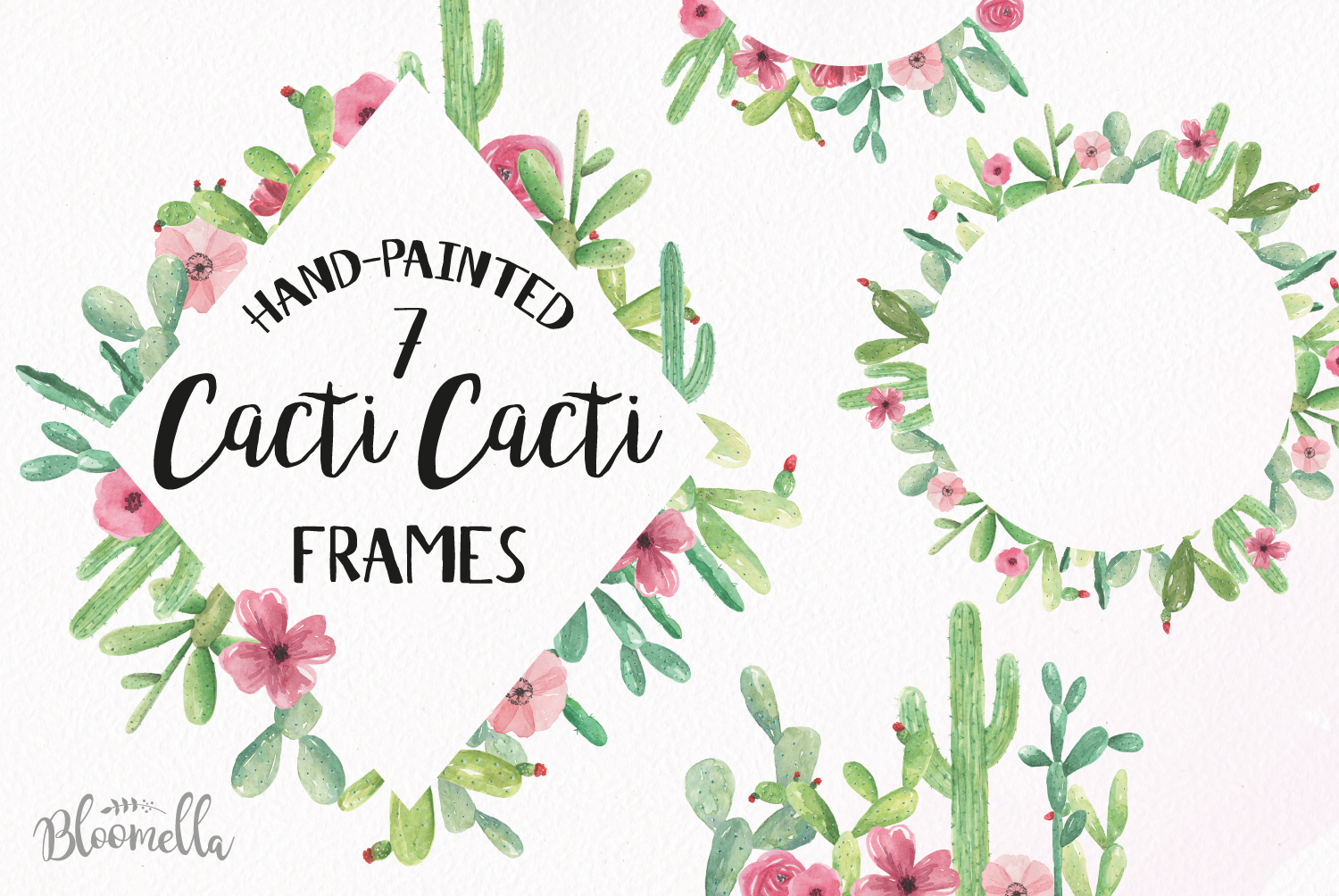 Download Free Cactus Frames 7 Clipart Watercolour Cacti Frame Succulent Graphic By Bloomella Creative Fabrica for Cricut Explore, Silhouette and other cutting machines.