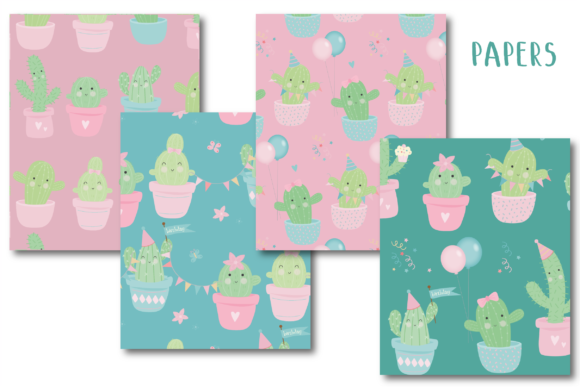 Download Free Cactus Party Paper Graphic By Poppymoondesign Creative Fabrica SVG Cut Files