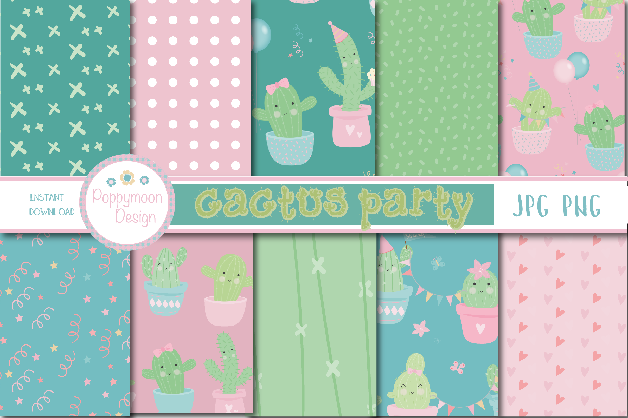 Download Free Cactus Party Paper Graphic By Poppymoondesign Creative Fabrica for Cricut Explore, Silhouette and other cutting machines.