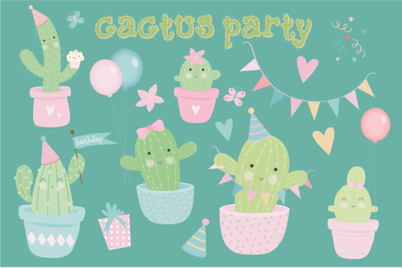 Download Free Cactus Party Clipart Graphic By Poppymoondesign Creative Fabrica for Cricut Explore, Silhouette and other cutting machines.