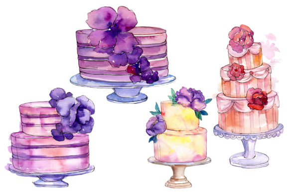 Download Free Cakes Yummy Watercolor Graphic By Mystocks Creative Fabrica for Cricut Explore, Silhouette and other cutting machines.
