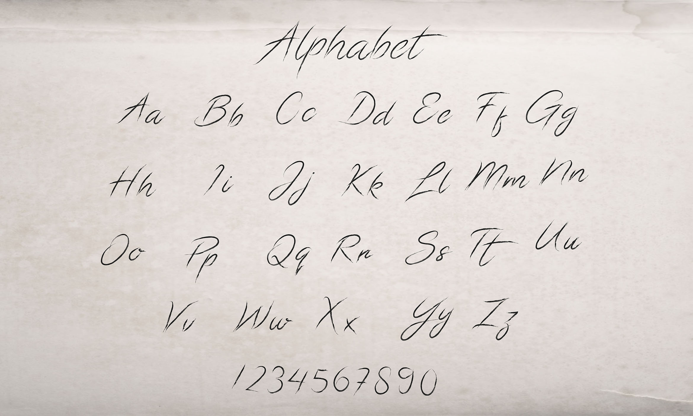 Download Free Calligraphic Alphabet Graphic By Aminmario Creative Fabrica for Cricut Explore, Silhouette and other cutting machines.