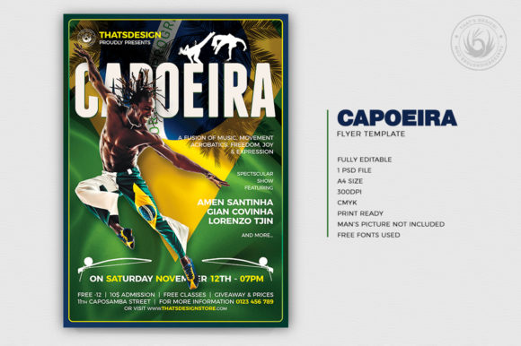 Download Free Capoeira Flyer Template Grafico Por Thatsdesignstore Creative for Cricut Explore, Silhouette and other cutting machines.