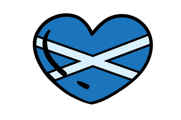 Cartoon Heart with Scotish Flag Scotland Craft Cut File By Creative Fabrica Crafts