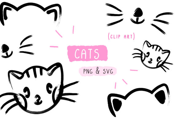 Download Free Cat Kitten Handmade Vector Graphic By Inkclouddesign Creative for Cricut Explore, Silhouette and other cutting machines.