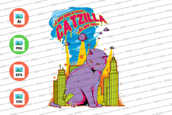 Cat Zilla Graphic Illustrations By Skull and Rose - Image 3
