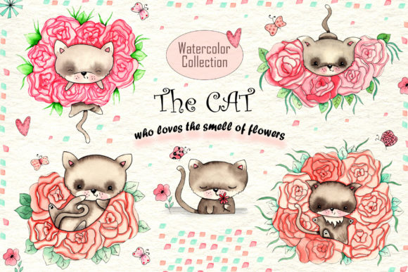 Print on Demand: Cats and Flowers Watercolor Graphic Illustrations By tanatadesign