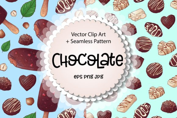 Print on Demand: Chocolate – Vector Clip Art Graphic Illustrations By nicjulia