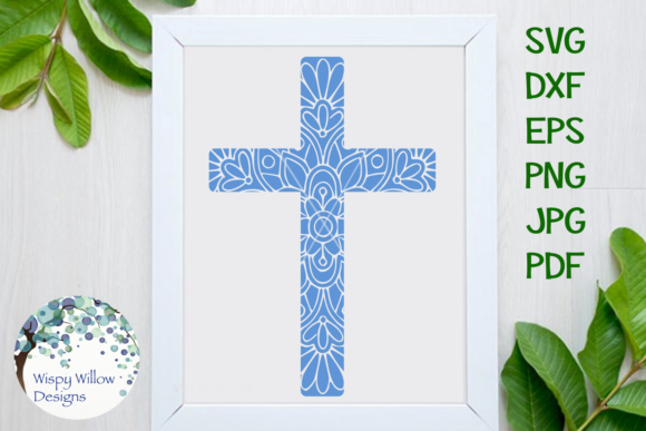 Download Free Christian Cross Mandala Zentangle Svg Graphic By Wispywillowdesigns Creative Fabrica for Cricut Explore, Silhouette and other cutting machines.