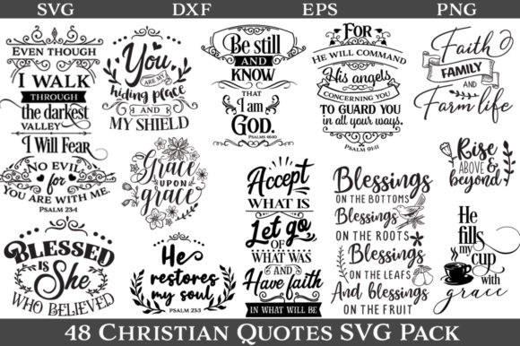 Download Free 48 Christian Quotes Graphic By Nerd Mama Cut Files Creative for Cricut Explore, Silhouette and other cutting machines.