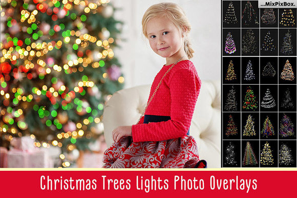 Print on Demand: Christmas Trees Lights Overlays Graphic Layer Styles By MixPixBox - Image 1
