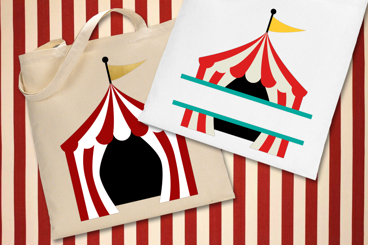 Download Free Circus Tent And Split Graphic By Designedbygeeks Creative Fabrica for Cricut Explore, Silhouette and other cutting machines.