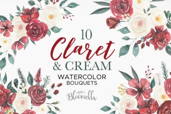Claret and Cream Flowers Watercolor Graphic Illustrations By Bloomella