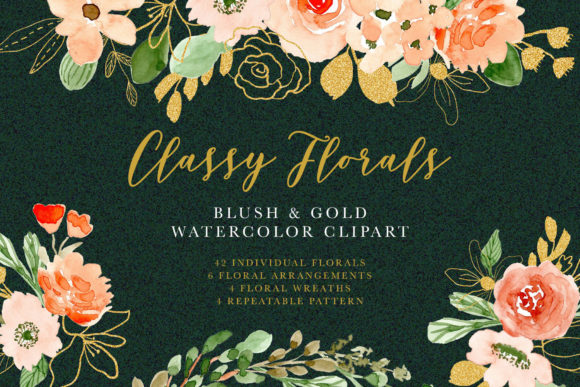 Classy Florals - Watercolor Clipart Graphic Illustrations By wulano