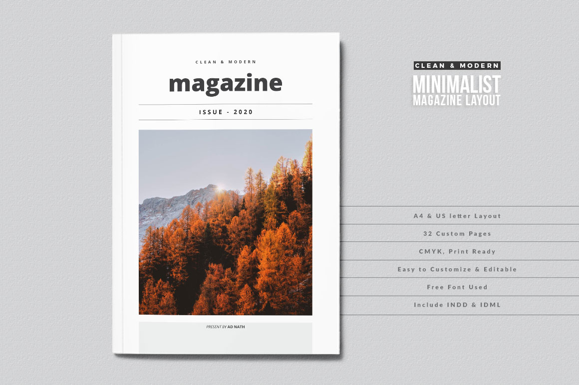 Download Free Clean And Modern Minimalist Magazine Layout Graphic By for Cricut Explore, Silhouette and other cutting machines.