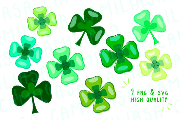 Print on Demand: Clover Clip Art Graphic Icons By Inkclouddesign