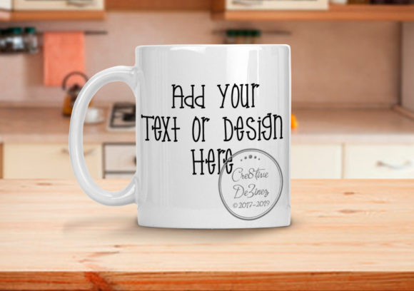 Download Free Coffee Mug With Kitchen Background Grafico Por Cre8tivedezinez for Cricut Explore, Silhouette and other cutting machines.