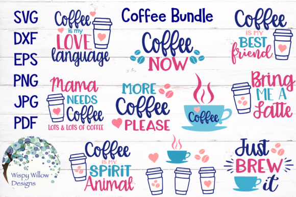 Download Free Coffee Bundle Graphic By Wispywillowdesigns Creative Fabrica for Cricut Explore, Silhouette and other cutting machines.