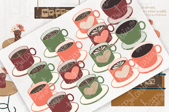 Print on Demand: Coffee Shop Clipart Graphic Illustrations By Michelle Alzola - Image 2