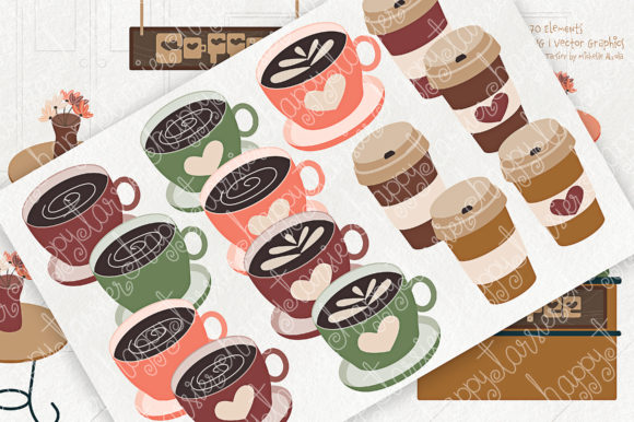 Print on Demand: Coffee Shop Clipart Graphic Illustrations By Michelle Alzola - Image 3
