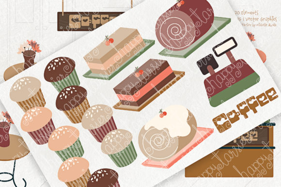 Print on Demand: Coffee Shop Clipart Graphic Illustrations By Michelle Alzola - Image 5