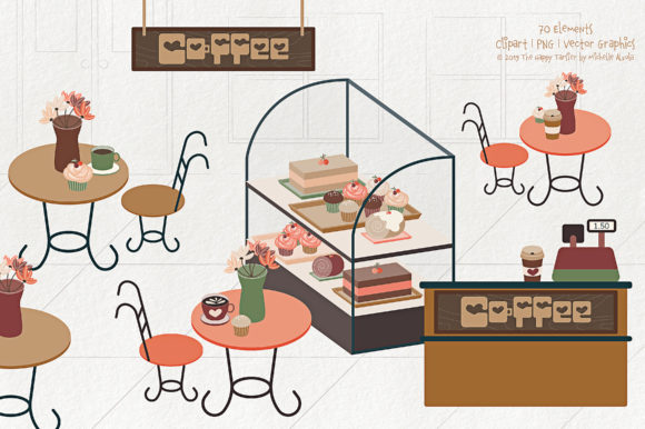 Print on Demand: Coffee Shop Clipart Graphic Illustrations By Michelle Alzola