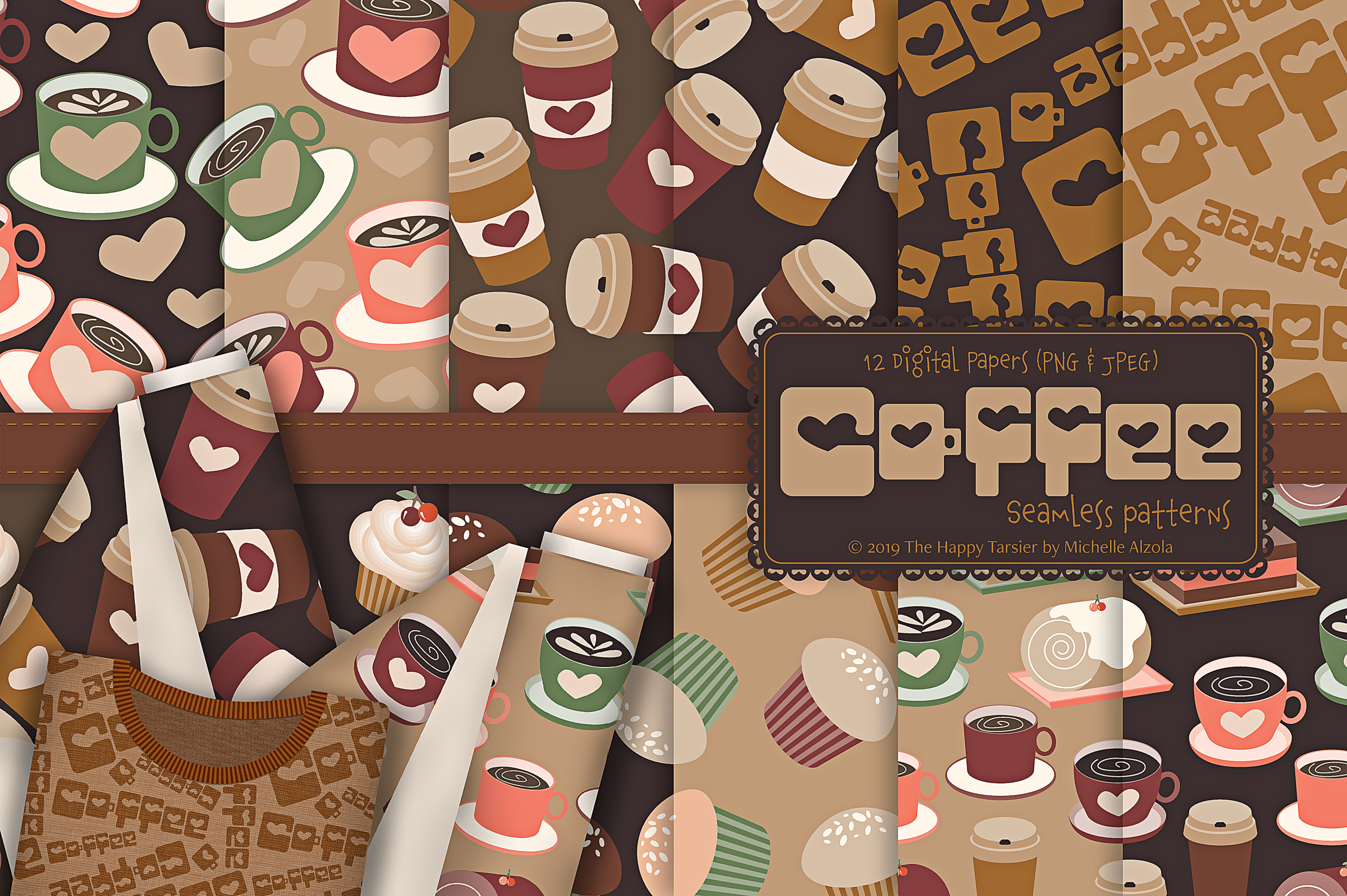 Download Free Coffee Shop Seamless Patterns Digital Papers Graphic By for Cricut Explore, Silhouette and other cutting machines.