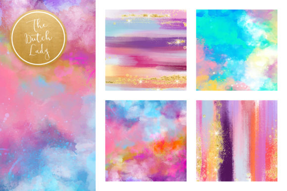Print on Demand: Colorful Brush Strokes & Stains Background Textures Graphic Textures By daphnepopuliers - Image 2