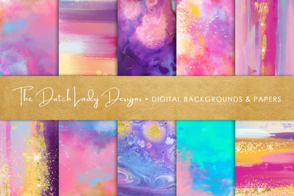 Print on Demand: Colorful Brush Strokes & Stains Background Textures Graphic Textures By daphnepopuliers