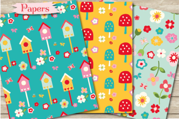 Print on Demand: Colourful Garden Papers Graphic Patterns By poppymoondesign - Image 2